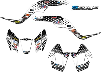 13 Fly Racing Black Graphics Kit with blank number plates Senge Graphics Kit Compatible with Honda 2006-2019 TRX 250EX