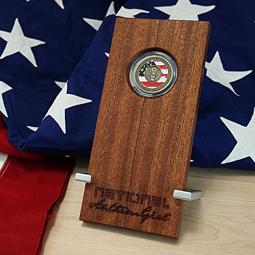 Personalized military challenge Coin Display handmade out of natural Sapele - Natural Sapele