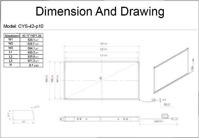 42 Inch Multi-Touch Infrarrojos Touch Marco, visualización táctil ...