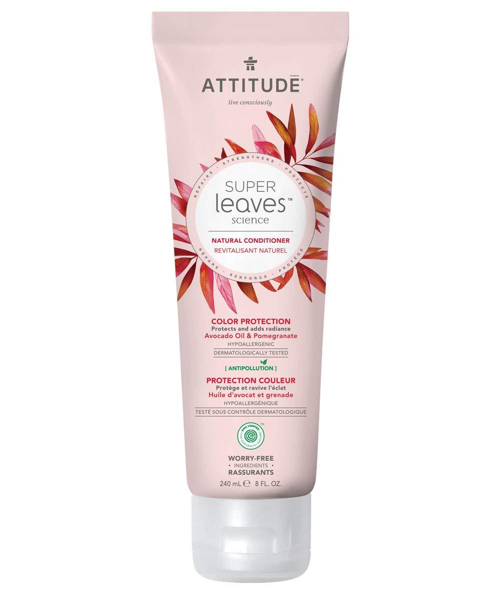 ATTITUDE Super Leaves, Hypoallergenic Color Protection Conditioner, Avocado Oil & Pomegranate, 8 Fluid Ounce