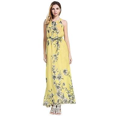 c15916bd0e8 Angelof Maxi Robe Imprimé Floral éTé Longue Femmes Robe HabilléEs BohèMe  Dames Robe De Plage sans