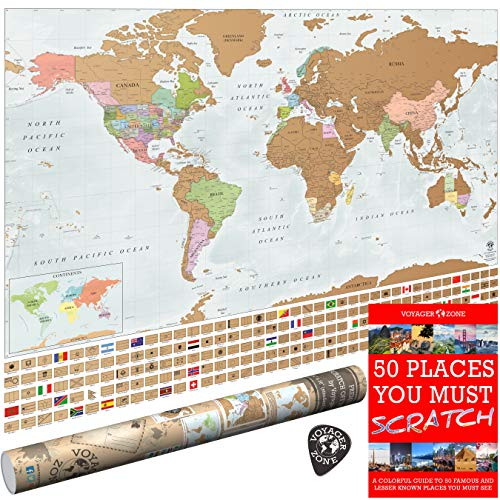 Scratch Off World Map by Voyager Zone - Made in USA - 24x36 Extra Large Size Wall Poster - High Detail Cartography - Premium Spot On Gold Scratch Layer - - Map Design Australian