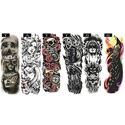 Pinkiou Temporary Tattoo Full Arm Body Stickers Arm Shoulder Tattoo For Man Women Buddha, Skull, Eagle eye, Beauty and Beast Etc (18-0092)