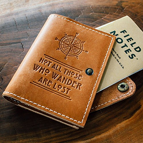 Compass + Not All Those Who Wander are Lost // Leather Field Notes Cover