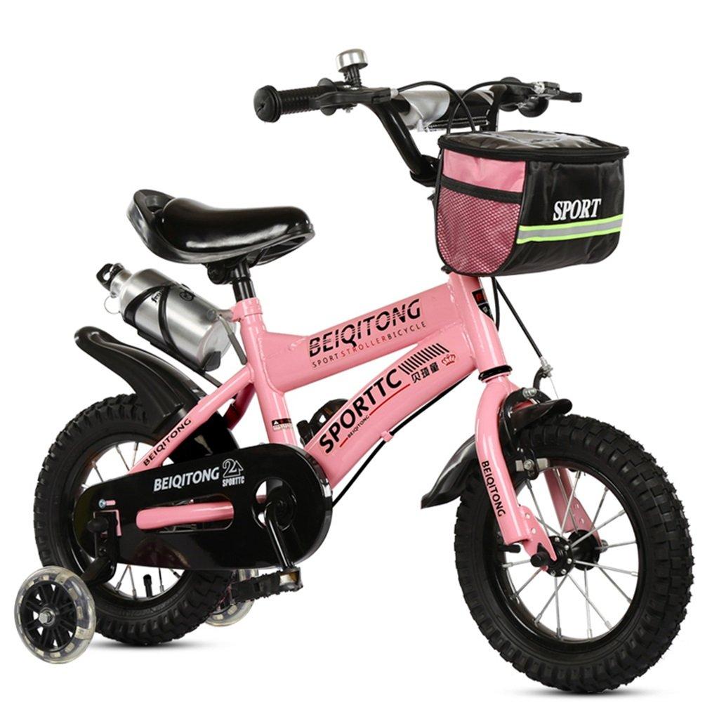 KANGR-子ども用自転車 子供用自転車適合2-3-6-8男の子と女の子子供用玩具屋外用マウンテンバイクハンドルバーとサドルはフラッシュトレーニングホイールで調節可能な高さにできますウォーターボトルとホルダー-12 / 14/16/18インチ ( 色 : ピンク ぴんく , サイズ さいず : 12インチ ) B07C9T74PJ 12インチ|ピンク ぴんく ピンク ぴんく 12インチ