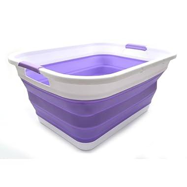 SAMMART Collapsible Plastic Laundry Basket - Foldable Pop Up Storage Container/Organizer - Portable Washing Tub - Space Saving Hamper/Basket (Rectangular, Lt. Purple)