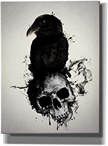 "Cortesi Home Raven and Skull Wall Art, 12"" x 16"", Black"