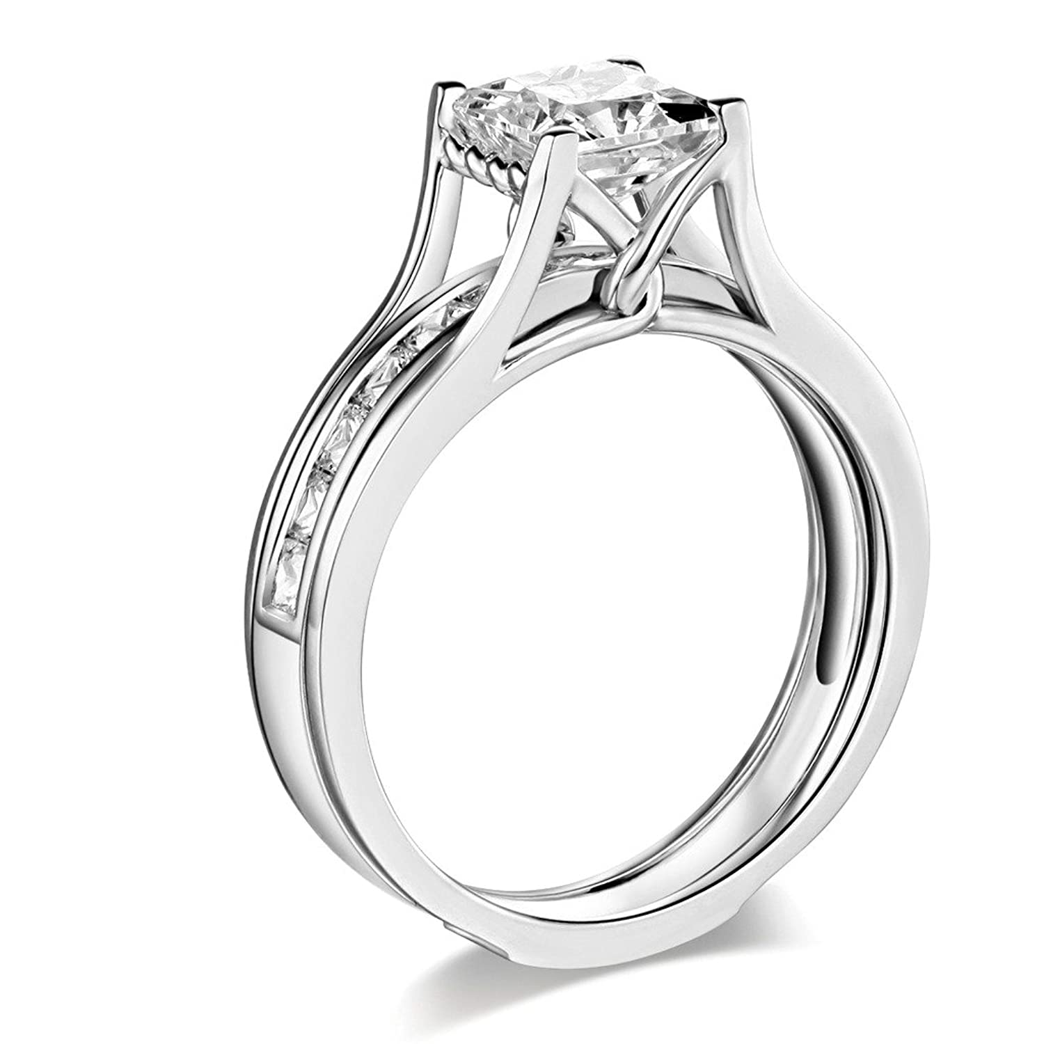 14k Yellow OR White Gold SOLID Princess Square Engagement Ring