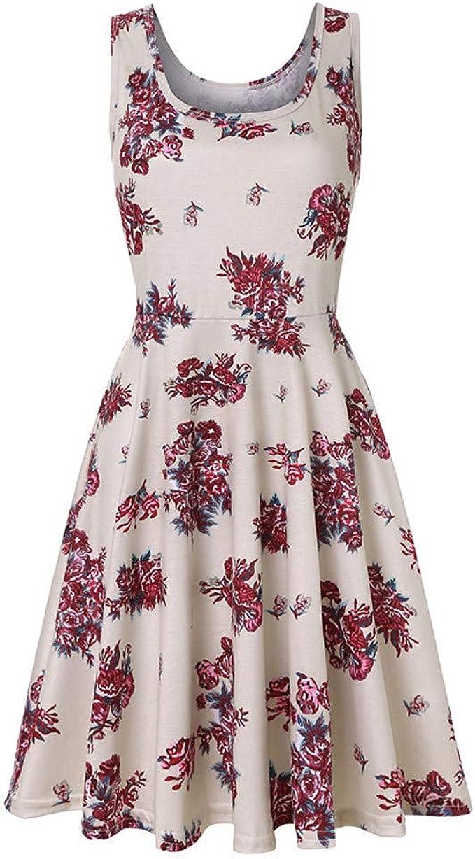 ZANZEA Damen Ärmellos V Neck Kleid Sommerkleid Blume Oversize Elegant Partykleid