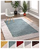 Porta Border Modern Geometric Shag 7x10 ( 6'7'' x 9'10'' ) Area Rug Light Blue Ivory Plush Easy Care Thick Soft Plush Living Room