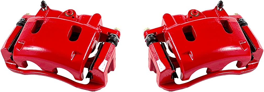 CCK12669 2 FRONT Performance Grade Red Powder Coated Semi-Loaded Caliper Assembly Pair Set