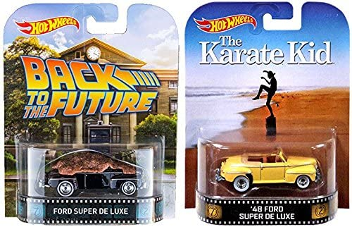 Hot Wheels Retro Entertainment 1948 Ford Super De Luxe Collection with Karate Kid & Back to the Future 61HT4-ge0FL