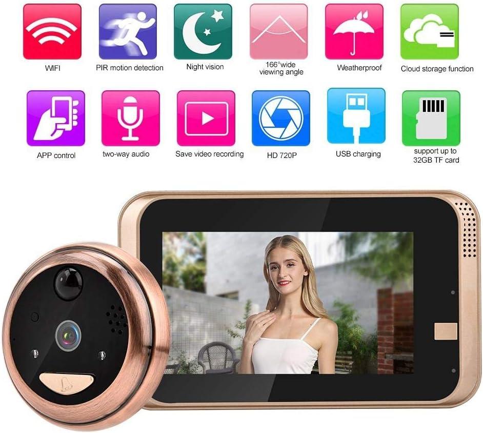 YJF-ZWS Video Door Phone 3.5 Inch LCD Wireless Visual Doorbell 120 Degree Peephole Door Viewer Cat Eye Camera Easy to Install for Home//Office