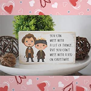EricauBird Wooden Plaque Sign, You Can Mess with A Lot of Things But You Don't Mess with A Kid on Christmas Wood Wall Decor Art, Farmhouse Rustic Mural Wood Pallet Perfect for Home Bar Office 12