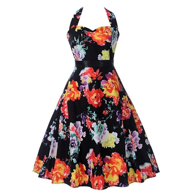 Vestidos Vintage, Vestido de oscilación del Halter Rockabilly Retro Estampado Floral de Lunares de los