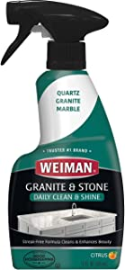 Weiman Granite Cleaner and Polish - 12 Fluid Ounce - Enhances Natural Color in Granite Quartz Marble Soap Stone and More