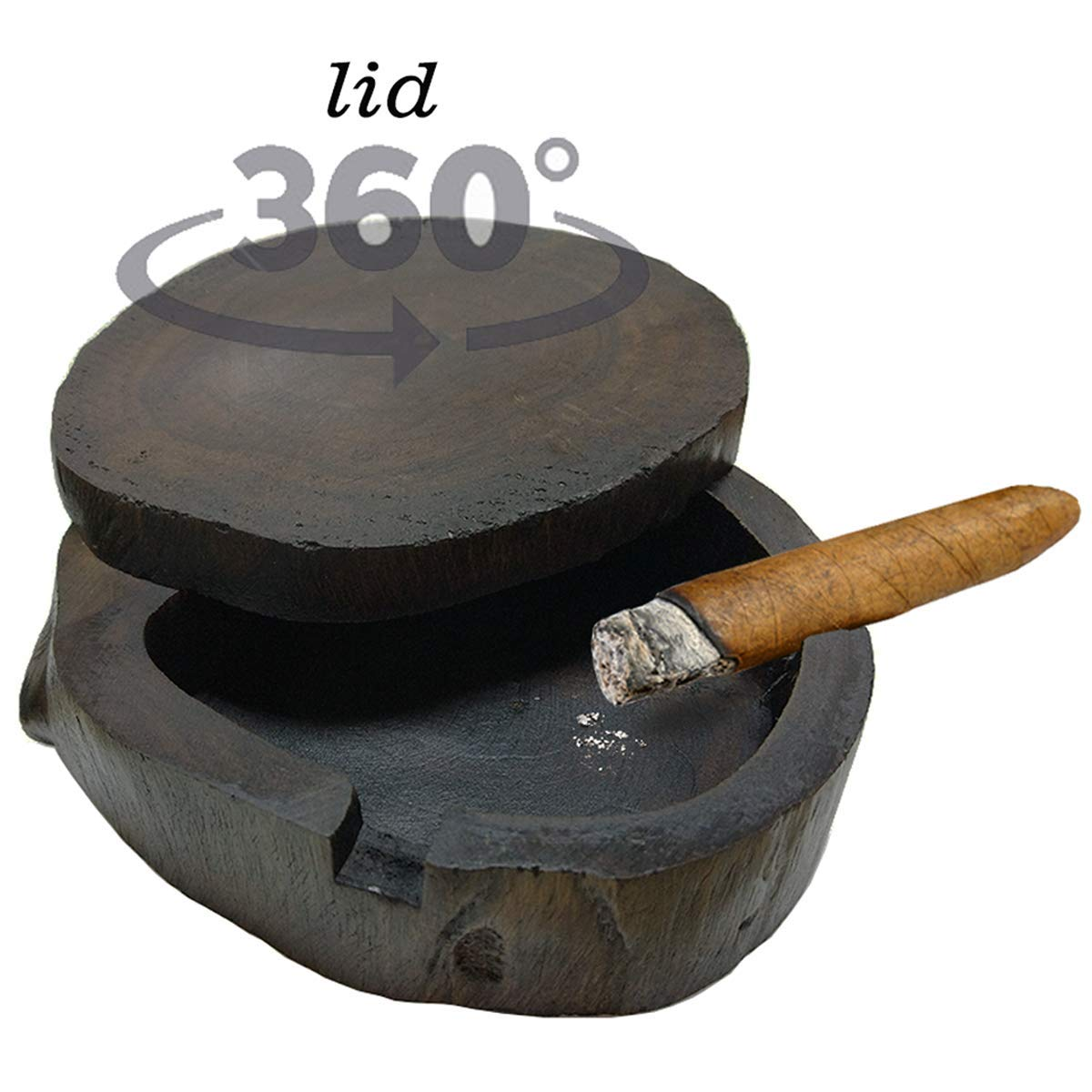 Camlinbo Outdoor Wood Cigar Ashtray with 360 Spinning Lid for Patio,Handmade Ashtray and 3 Cigarettes Holders Decorative Indoor Home Bar Table Top Smokeless Ashtray for Men Gifts (Wood ciagr Ashtray) by Camlinbo