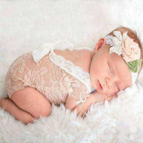 Gankmachine Trajes recién Nacido del bebé del cordón del Mameluco recién Nacido Fotografía Atrezzo Princess V Profundo Hueco de Las Muchachas ...