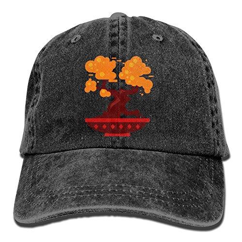 Arsmt Cartoon Bonsai Tree Denim Hat Adjustable Mens Funny Baseball Hat