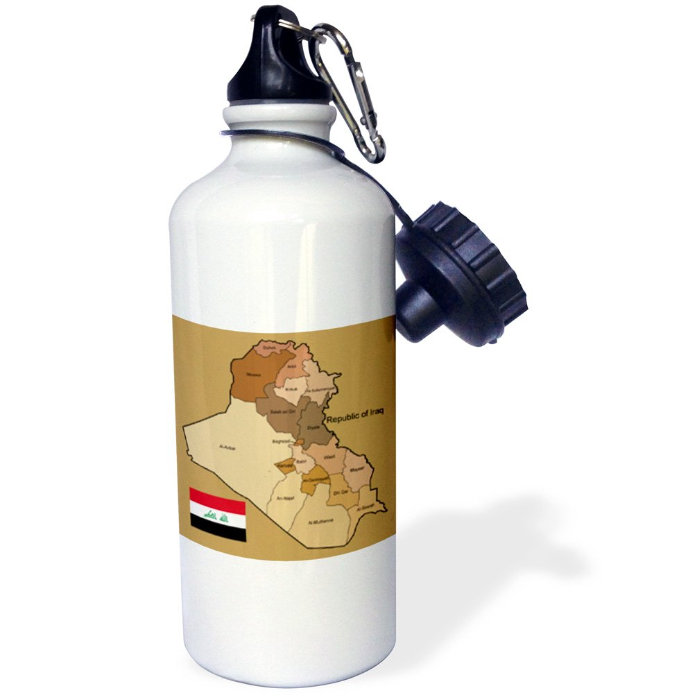 3dRose wb/_99121/_1Political map of Iraq with each province identified by name and Iraqi flag Sports Water Bottle 21 oz White