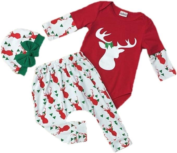 Amazon.com: Cute Kids ropa 3-pc bebé niña Navidad traje W ...