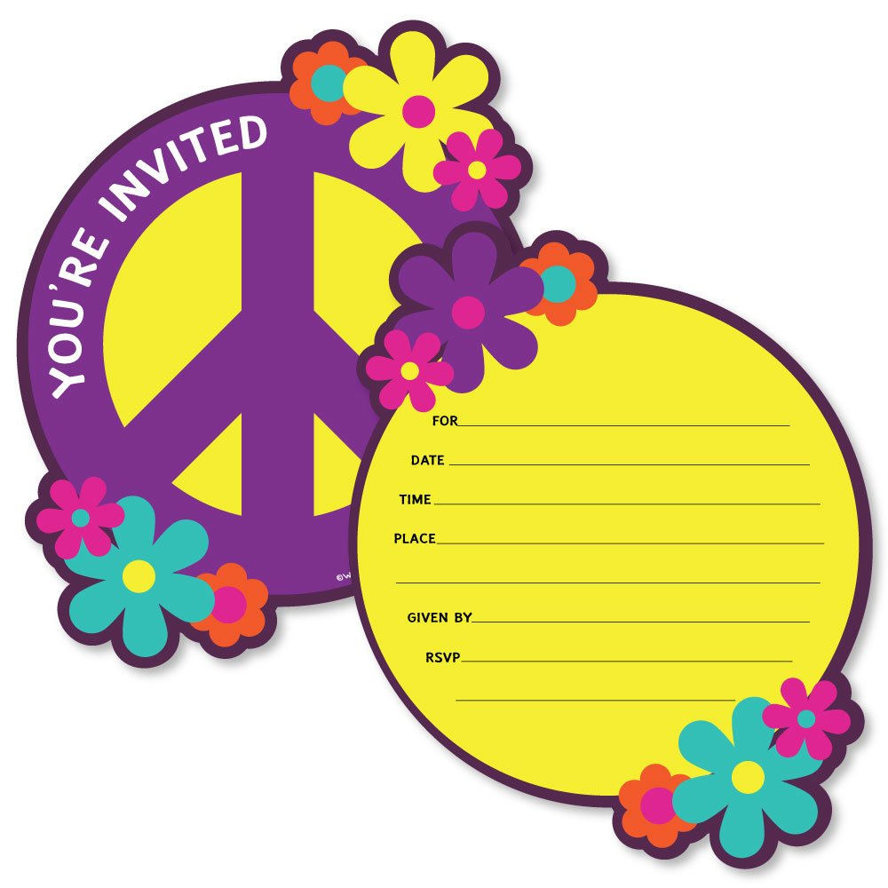 60s Hippie Shaped Fill-in Invitations 1960s Groovy Party Invitation Cards with Envelopes Set of 12