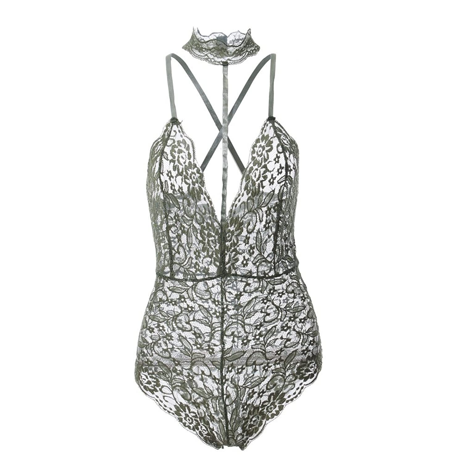 Bonaweite Women Jumpsuit Sexy Lace Backless Swimsuit