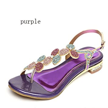 64c15e7e0922f5 SBL Rhinestone sandals female summer flat with leather sandals and slippers  flat bottom toe flip flops