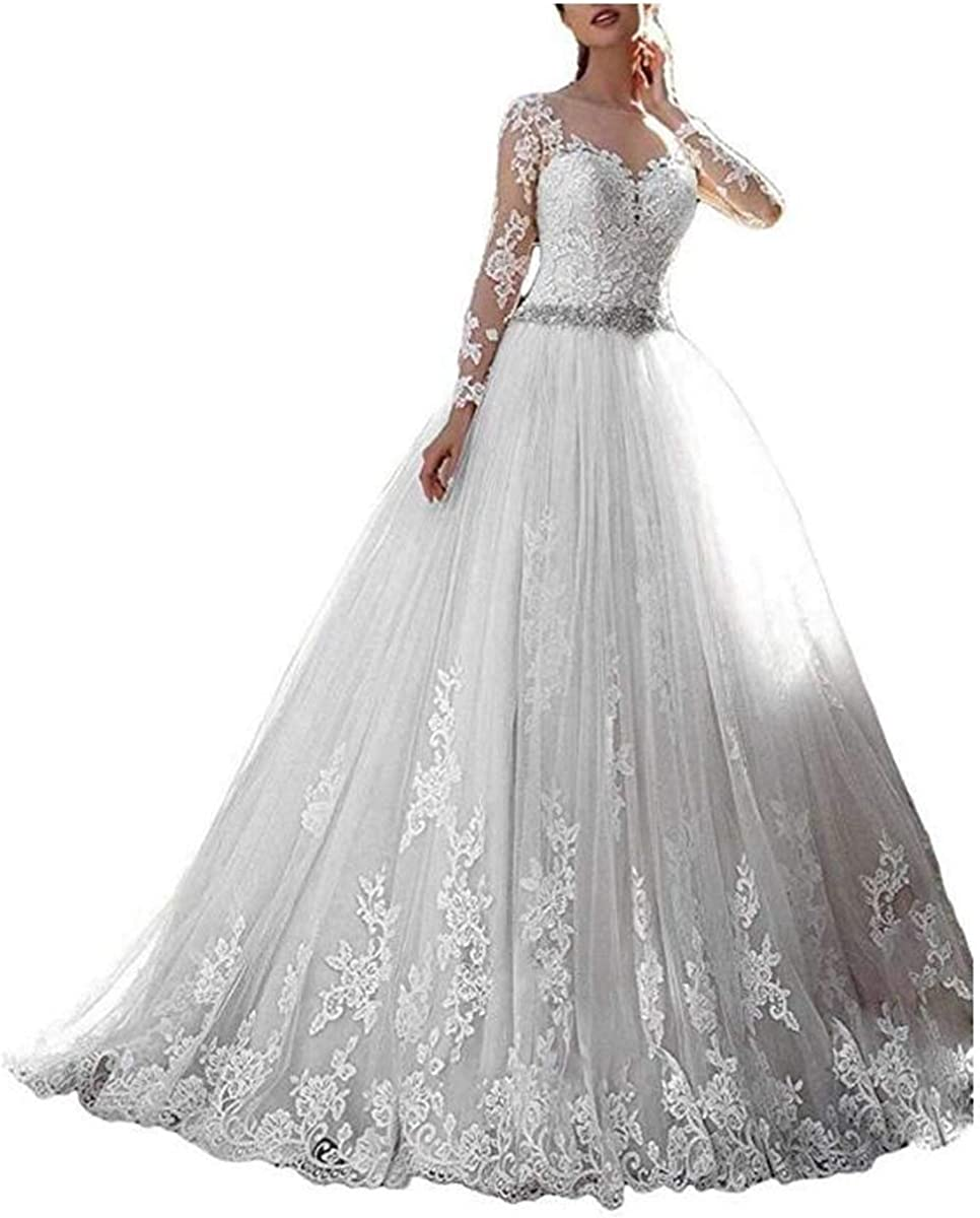 Thrsaeyi Women S 2019 Lace Wedding Dresses Bridal Gowns Long Sleeves Ball Gowns At Amazon Women S Clothing Store