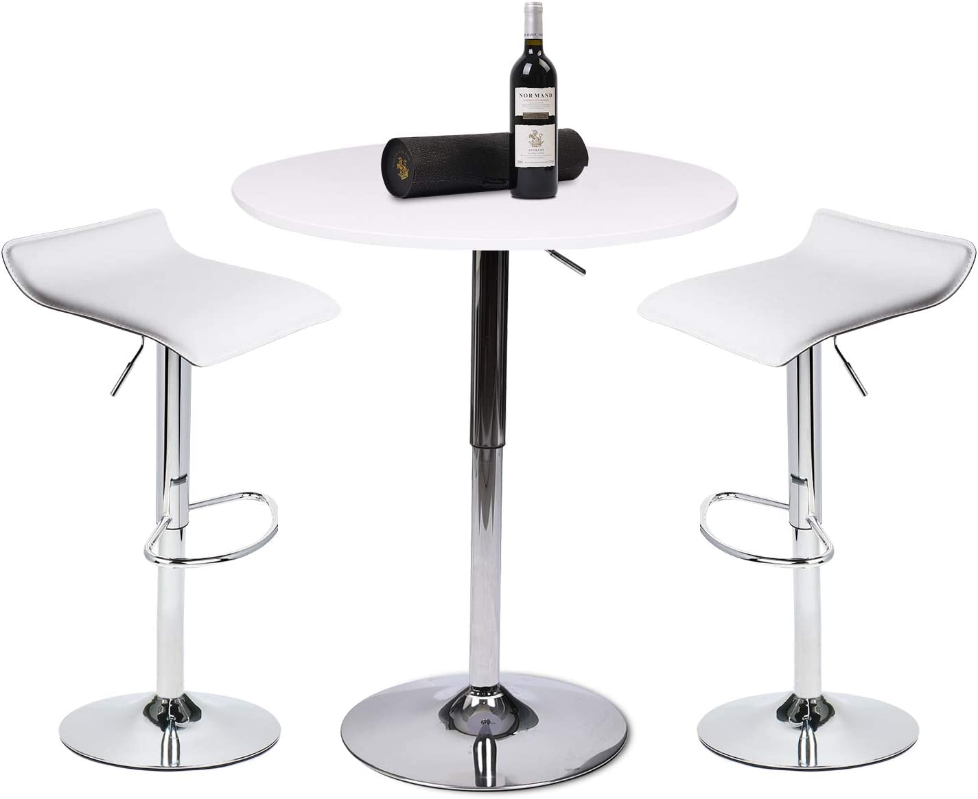 Set of 9,One White Bar Table with 9 Contemporary Chrome Air Lift Barstool  Adjustable Swivel White Stools
