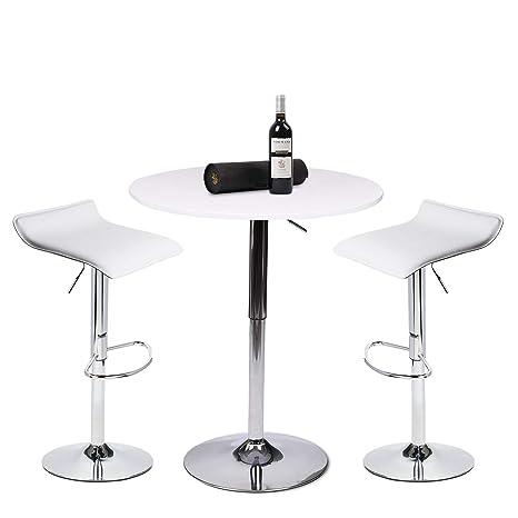 Amazon.com: Mesa alta de bar, MDF, Blanco (White Set ...