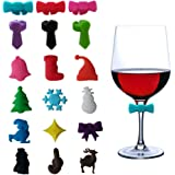Wine Glass Charms Markers Tags Set of 18, DesignerBox Christmas Theme Bow Tie Glass Charms Silicone Sucker Drink Markers Cup Stickers for Christmas Party Decorations