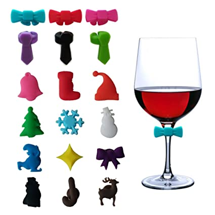 DesignerBox Juego de 18 Etiquetas de Cristal para Vino, diseño de Navidad, diseño de