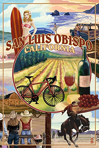 San Luis Obispo, California - Garden Montage (12x18 Fine Art Print, Home Wall Decor Artwork Poster) from Lantern Press
