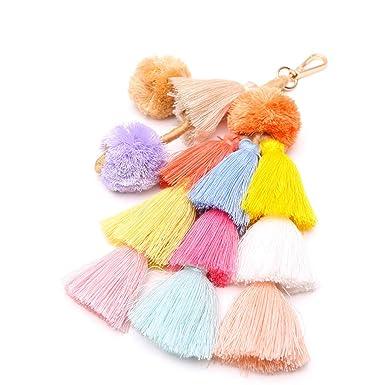 Amazon.com: Llavero bohemio de moda, con borla colorida en ...