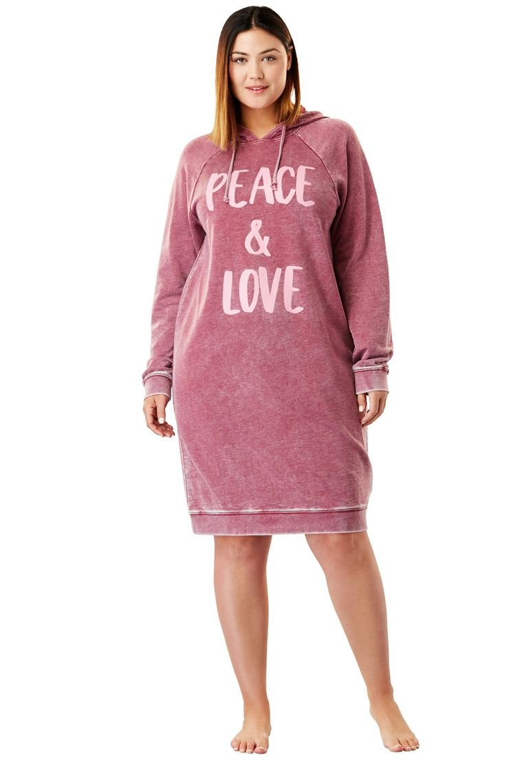 Dreams & Co. Women's Plus Size Burnout French Terry Graphic Hooded Lounger by Dreams & Co.