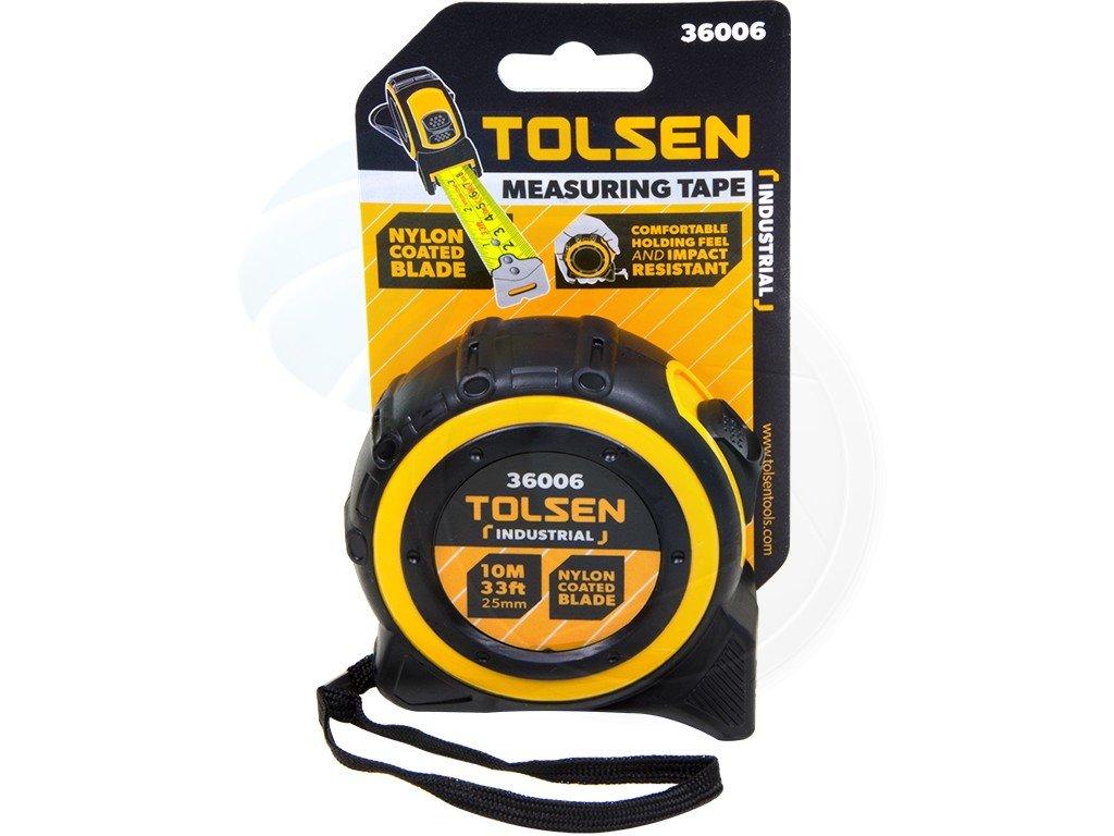 Tolsen 10M 33FT Nylon Coated Heavy Duty Measuring Tape Metric Imperial by Tolsen