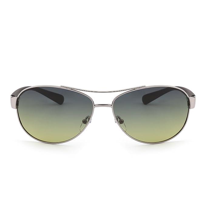 Gafas de Sol Polarizadas Aviador Lentes de Gradiente Templo Mate Hombre Mujer Azul Amarillo