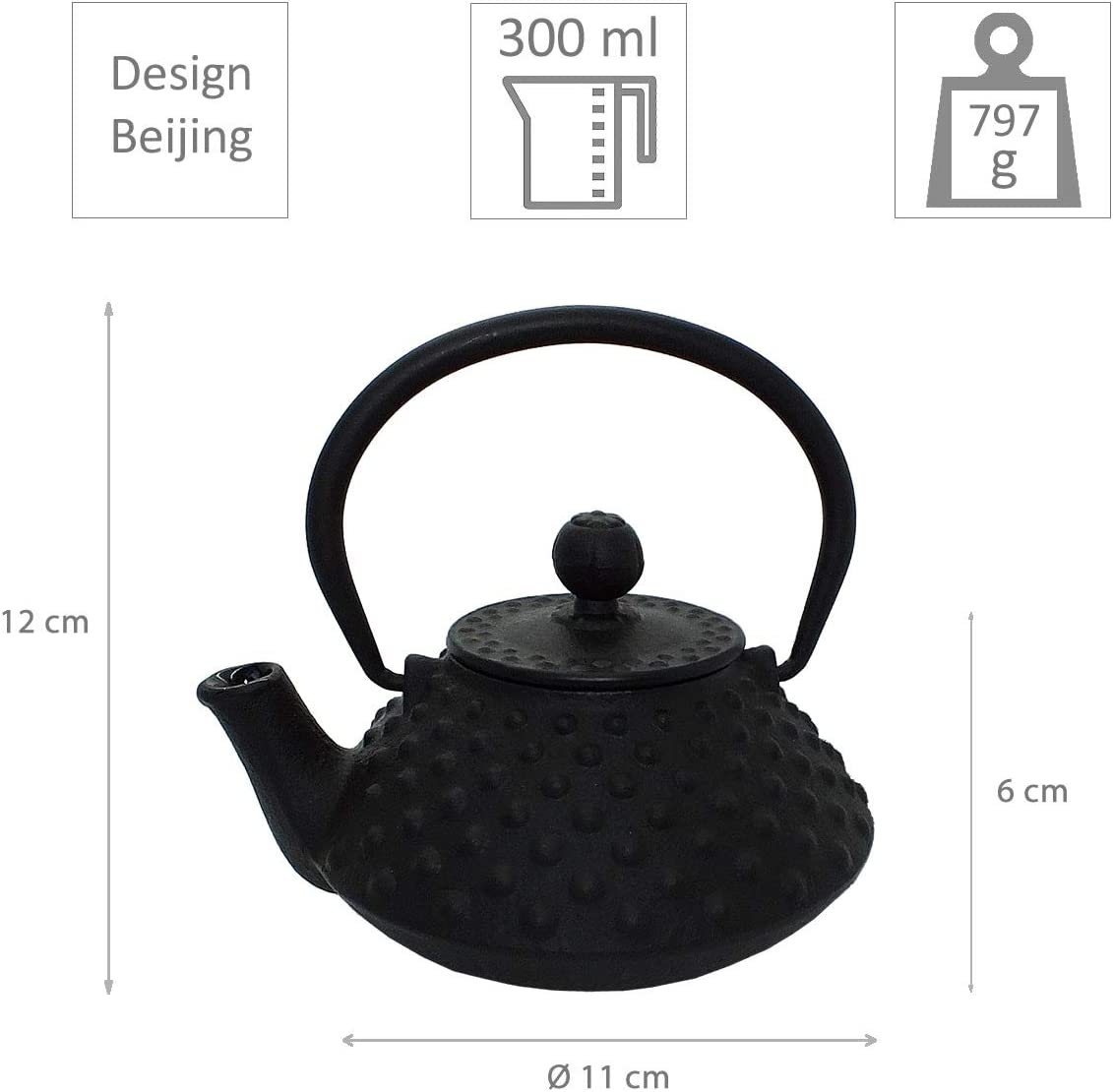 teeblume Shipping Costs incl Cast Iron Teapot Beijing 0.3 Litre Black