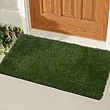 Ottomanson Garden Collection Indoor/Outdoor Artificial Solid Grass Design Doormat Green Turf, 20'' X 30''