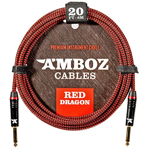 (Red Dragon Instrument Cable - Noiseless for Electric Guitar and Bass - 20Foot TS 1/4Inch Straight PL)