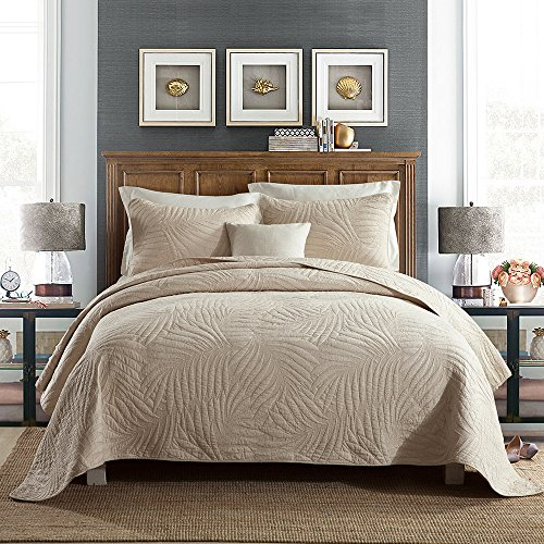 Quilt Set King, Cotton World Li Premium 3 Piece Oversized Coverlet Set as Bedspread Bed Cover Reversible Luxury LightWeight - Wrinkle & Fade Resistant-King/California (Egyptian Cotton Coverlet Set)