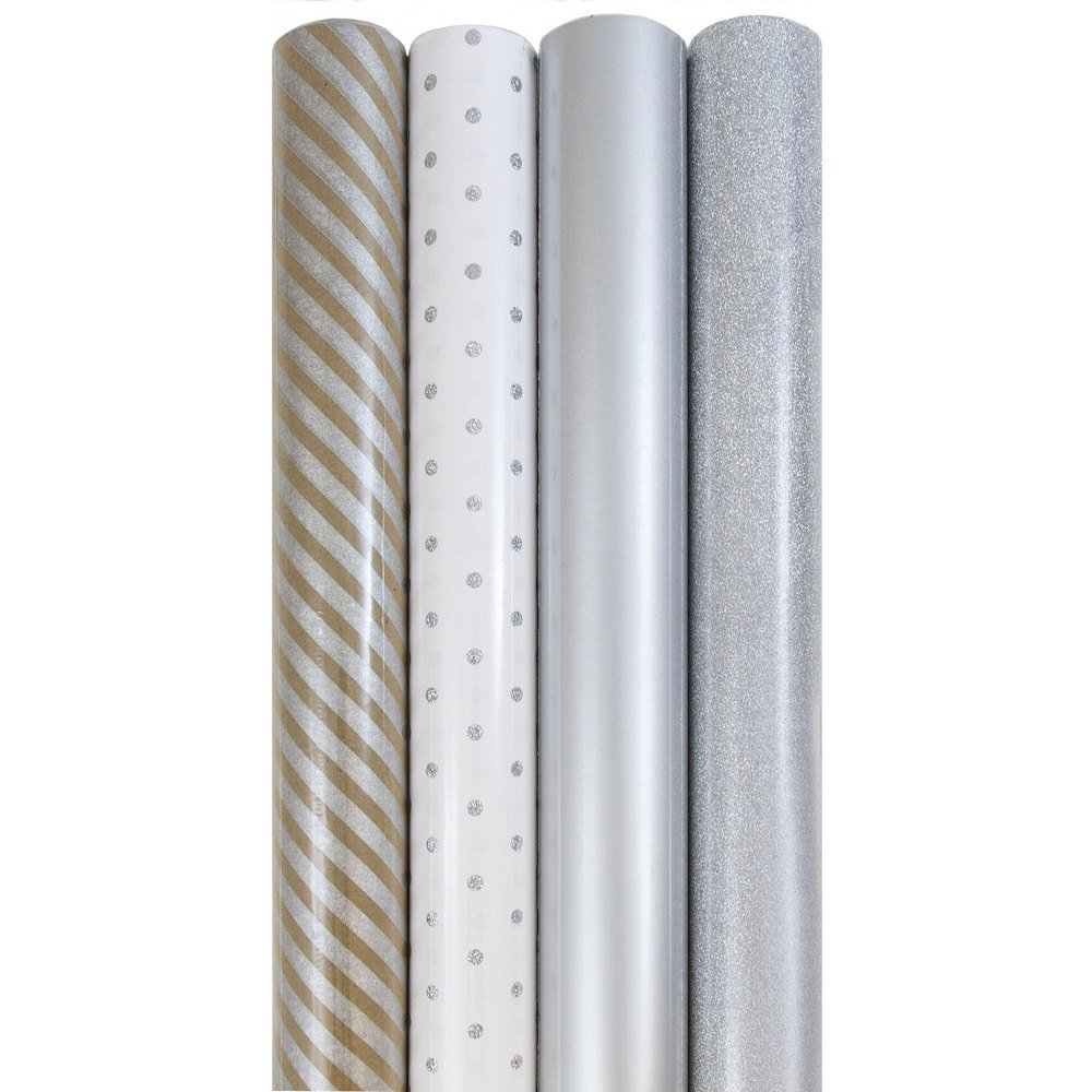 JAM Paper Premium Wrapping Paper Set - 64 sq ft. - Everything Silver - 4 Rolls/pack