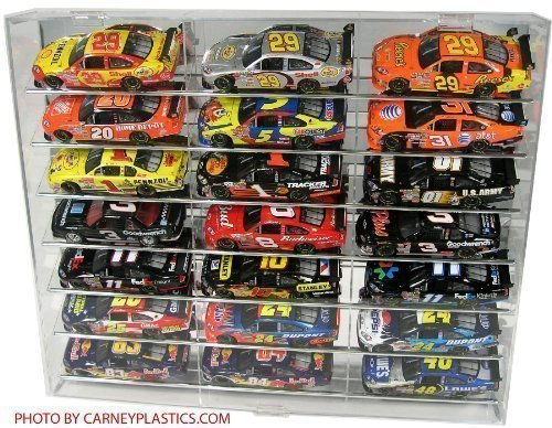 Nascar Shelf - NASCAR Display Case 21 car Angled Shelf fits Diecast 1/24 Action 1:24 Scale by Carney Display Case