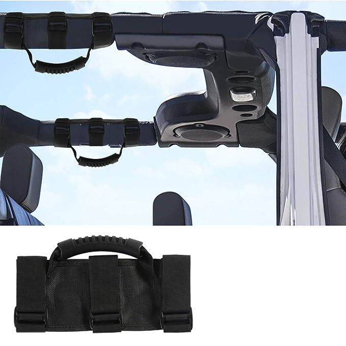 2PCS Black Dealpeak Grab Bar Handle for Jeep Wrangler Heavy Duty Unlimited Wrangler Roll Bar Fits 1987-2018 Jeep Wrangler