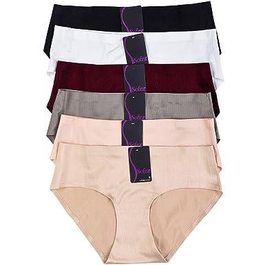 dca7405b9b503 Sofra 6 Pack of Women s Laser Cut No Show Bikini Panties at Amazon ...