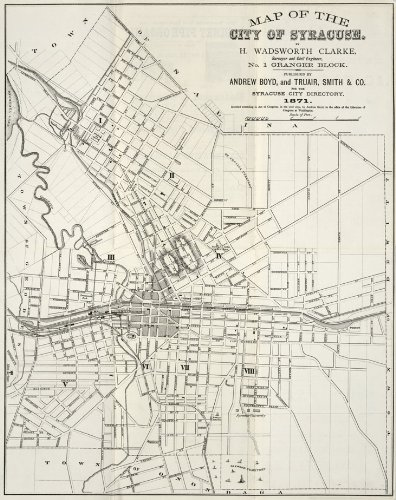 1871 Old Street Map City of Syracuse New York - Map Reprint 19