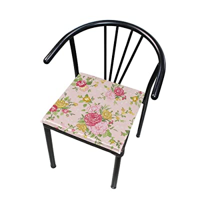 """Bardic HNTGHX Outdoor/Indoor Chair Cushion Rose Flower Pattern Square Memory Foam Seat Pads Cushion for Patio Dining, 16"""" x 16"""": Home & Kitchen"""