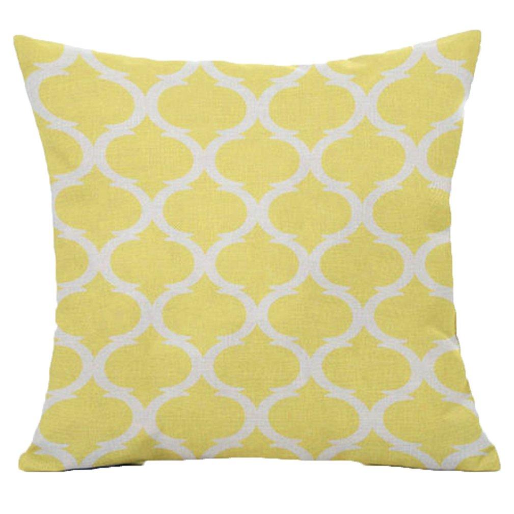 pantalla sof/á cama decoraci/ón del hogar 45/cm x 45/cm Amarillo talla /única Lino sukisuki geom/étrico lino manta funda de almohada Funda para coj/ín