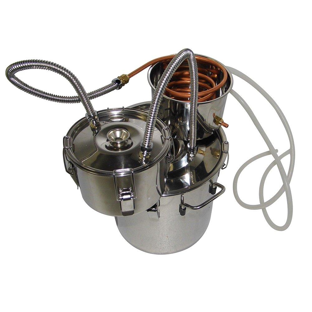 OLizee 3 Pots 5 Gal Stainless Steel Water Alcohol Distiller Copper Tube 18L Moonshine Still Spirits Boiler Home Wine Making Kit